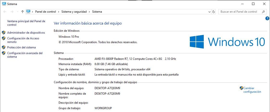 Propiedades PC