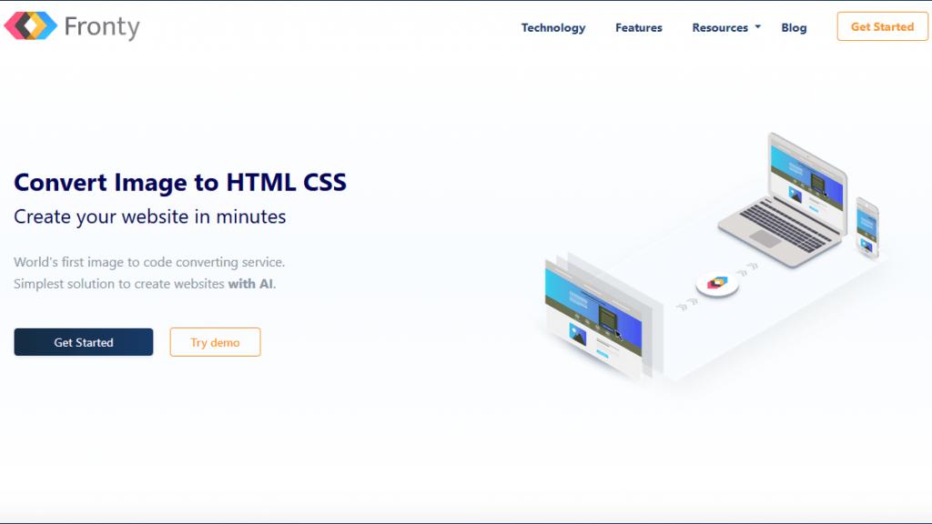 Fronty, IA que convierte imánes en HTML